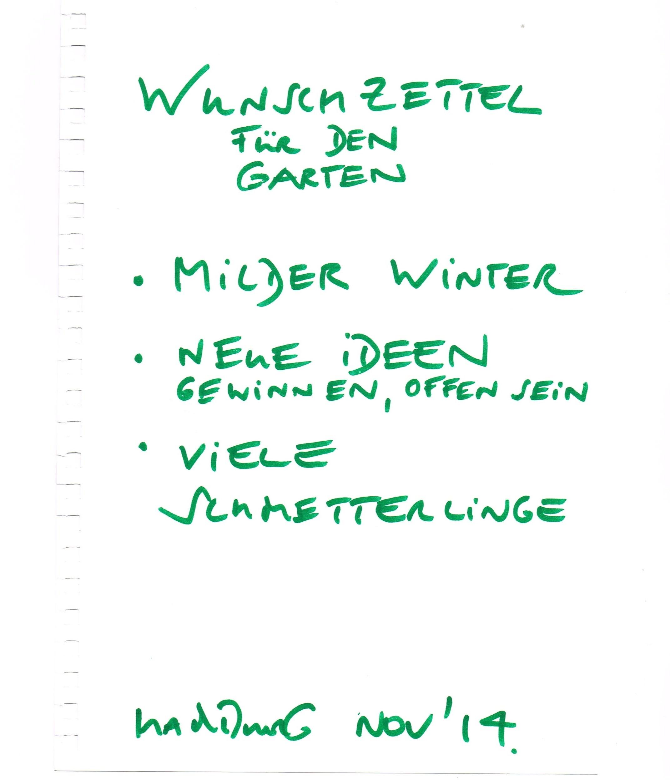 Des g rtners wunschzettel alitex for Friederike von ehren